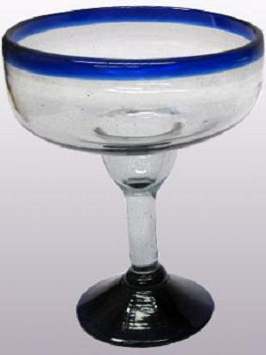 Wholesale MEXICAN GLASSWARE / 'Cobalt Blue Rim' large margarita glasses  / For the margarita lover, these enjoyable large sized margarita glasses feature a cheerful cobalt blue rim.